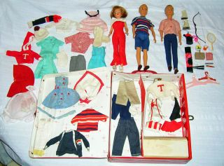 Vintage Ideal POS N Tammy Ted Dad Dolls w Clothes Accessories Carry Case