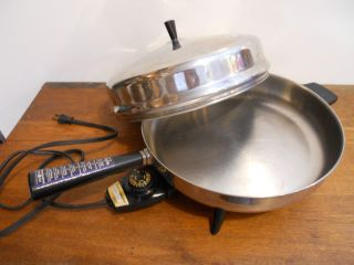 "12"" Farberware Electric Skillet High Lid Buffet Server 310A Fry Pan Submersable"
