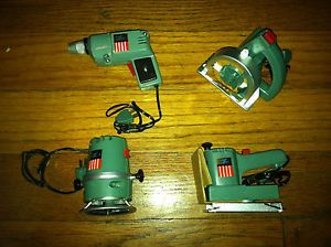 Vintage 1969 Ideal Powermite Battery Operated Toy Tools Drill Sander Saw Router