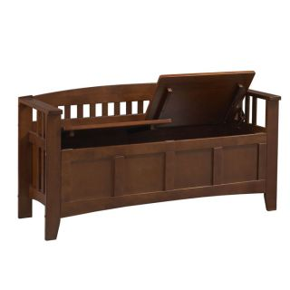 Short Back Split Seat Storage Bench Rubber Wood with Wal from Brookstone