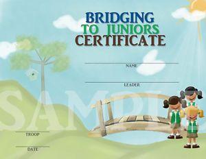 Printable Girl Scout Bridging to Juniors Certificate Customizable