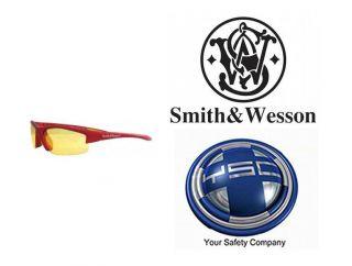 Smith Wesson Equalizer Safety Glasses Red Frame Amber Lens 21299