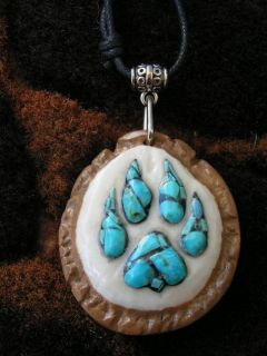 Carved Deer Antler Burr Inlaid with Turquoise Wolf Track Pendant Necklace 347
