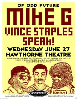 Mike G Vince Staples Speak Odd Future 2012 Concert Tour Poster Hip Hop Rap
