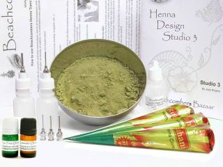 Big Bad Beginners Henna Tattoo Easy Starter Kit Mehndi Powder Paste Applicators