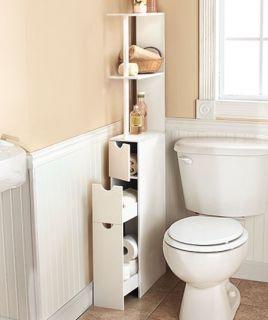 New Space Saving Storage Cabinet White Wood Slim Storage Organizer Shelf