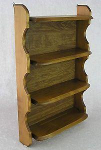 Vintage 4 Shelf Plate Grooves Wood Wooden Wall Curio Display Rack Shelves