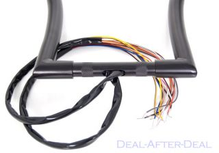 "18"" Rise Black Ape Hangers Handlebars Hand Controls Switches Wiring for Harley"