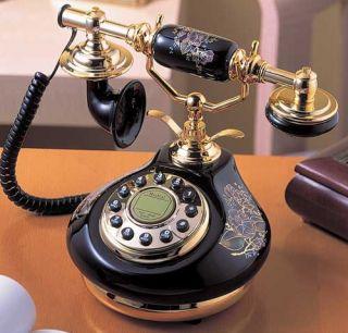 Golden Eagle Black 8809 Floral Corded Antique Porcelain French Telephone Phone 028466088097