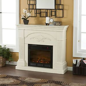 Salerno Electric Fireplace Ivory White w Remote Wall TV Stand Holly Martin