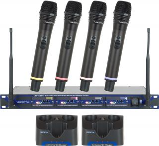 VocoPro UHF5805 Pro Rechargeable 4 Channel UHF Wireless Microphone System w Case 042406137454