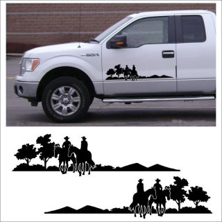 Decal Graphic Set Kit Cowboy Trail Rider for Farm Truck or Horse Trailer Black