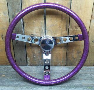 "15"" Purple Metalflake Steering Wheel Rat Hot Rod Custom Vtg Syle Gasser VW Bomb"