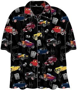 Ford '32 Deuce Coupes Hot Rods Cars Camp Hawaiian Shirt
