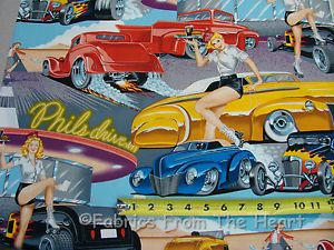 Phils 1950 Drive in Pin Up Girls Hot Rods Cars yds Alexander Henry Cotton Fabric