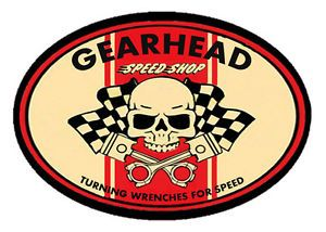 GearHead Speed Shop Vintage Skull Pistons Hot Rod Car Old School T Shirt