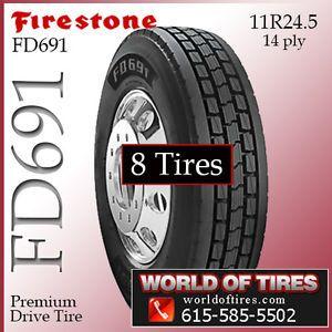 8 Tires Firestone FD691 11R24 5 Semi Truck Tires 11R24 5 11 R24 5 11R 24 5