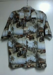 Santa Hawaiian Tropical Christmas Hot Rods Bikers Shirt Clearwater Outfitters M