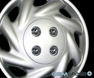"""4 New Silver 14"""" Hub Caps Fits 1991 Current Saturn s Series Wheel Covers Set"""