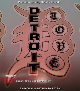 Detroit Love Decal Tigers D Brass Knuckle Premium Quality Unlaminated Nice