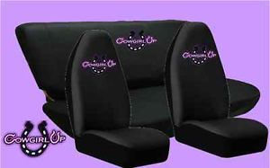 Cowgirl Up Universal Highback Seat Covers with Bench Seat Cover 4pc Combo Set