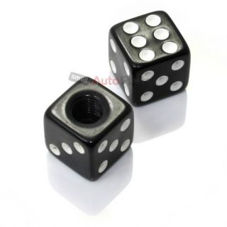 2 Custom Black Dice Tire Wheel Stem Valve Caps for Motorcycle Dirt Bike Bicycle
