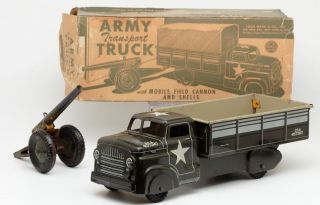 """RARE 14"""" Marx Army Transport Truck with Field Canon Tin Litho Toy Car Truck"""