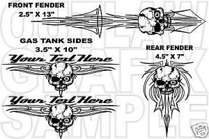 Skull Pinstripe Decal Set for A Harley Davidson 4 PC