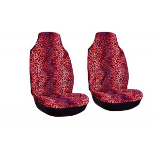 7pc Full Sport Integrated Set Red Leopard Cheetah Print High Back Car Seat Cover