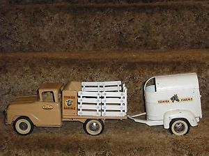 Vintage 1960's Tonka Farms Stake Truck with Horse Trailer