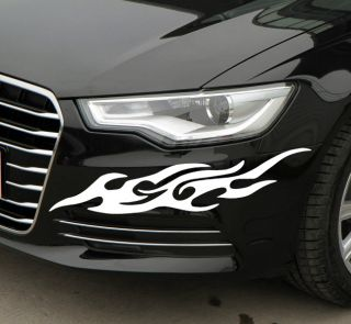White Car Auto Front Bumper Flame Graphics Decals Stickers New