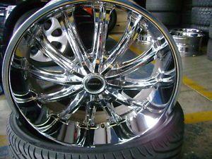 "22"" Strada 'Corona' Chrome Wheels and Tires Used Set of 4"