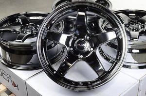 "17"" Black Chrome Kudo Wheels Rims 5x114 3 Accord Lexus IS300 Altima Maxima Supra"