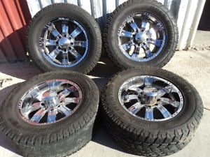 """20x9"""" Chrome Incubus Wheels 8x6 5 Toyo Open Country A T Tires 305 60R20"""