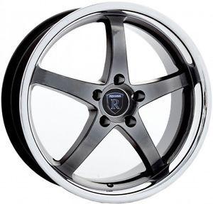"18"" Rohana RL5 Hyper Black Chrome Lip Wheels Rims Fit Nissan 350Z 370Z Nismo"