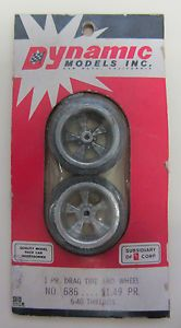 Vintage Dynamic Drag Tires and Wheels 686 5 40 Threads 1 24 Scale Slot Car