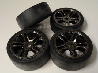 Traxxas XO 1 Black Chrome Wheels Tires TRA6477 6479