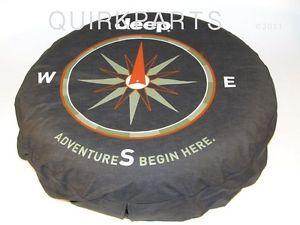 """1997 2013 Jeep Wrangler 16"""" Tire Cover """"Adventure Begins"""" Mopar Genuine New"""