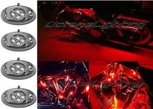 4pc Red LED Chrome Modules Motorcycle Chopper Frame Neon Glow Lights Pods Kit