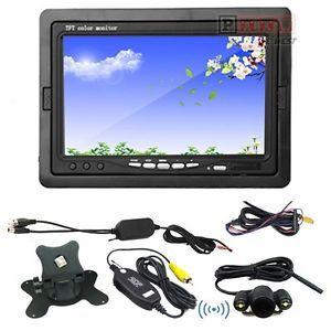 "7"" TFT LCD Car Rear View Monitor 2 4GHz Wireless Night Vision Car Backup Camera"