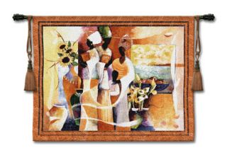 "Euphony African Woman Picture Tapestry Wall Hanging 53""X42"""