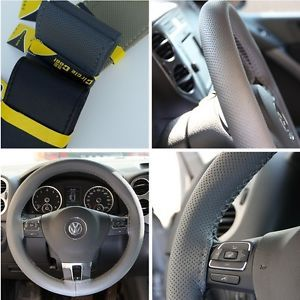 New Leather Steering Wheel Wrap Cover 47002 Grey Hummer Fiat Car Needle Thread