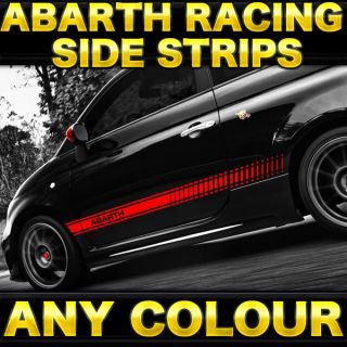 Fiat Abarth 500 Racing Stripes Graphic Kit X2 Sides Stickers Decals