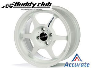 Buddyclub P1 Racing SF 15x8 0 32 4x100 White Set of 4 EF EG EK Da DC2 Miata