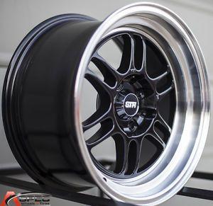 """15x8 5 Str 515 4x100 4x114 3 20 3"""" Lip Black Machined Lip Wheel Fit Honda Acura"""