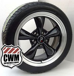 17x8 Classic 5 Spoke Black Wheels Rims Federal Tires for Chevy Camaro 1980