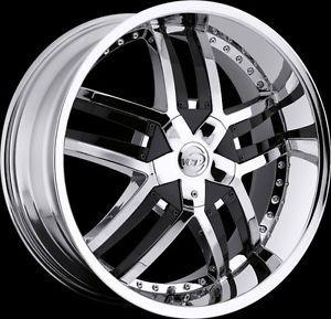 "20"" 22"" 24"" VCT Lombardi Chrome Black Wheels Chrysler Dodge Donks Rims"