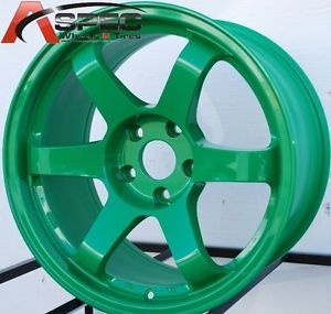 17x9 Rota Grid Wheels 5x100 Green Rims 35mm Fits Scion TC 2005 2010