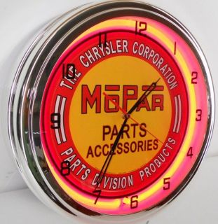 "Mopar Chrysler Jeep Parts 15"" Neon Clock Parts Emblem Garage Car Lot Sign R T JK"