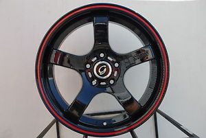 17x8 G Line G809 Wheel 5x108 38 Black Red Line Rim Fits Volvo V50 S40 V40 C70